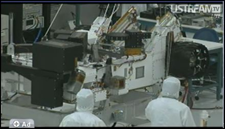 Screen shot of the folded up MSL rover.