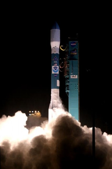 The Delta II rocket lofts the NOAA-N Prime spacecraft into the night sky over Vandenberg Air Force Base in California. Photo credit: NASA/Carleton Bailie, ULA