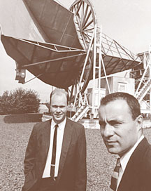 Arno Penzias and Robert Wilson in front of the Horn Antenna. Image Credit: AIP Niels Bohr Library