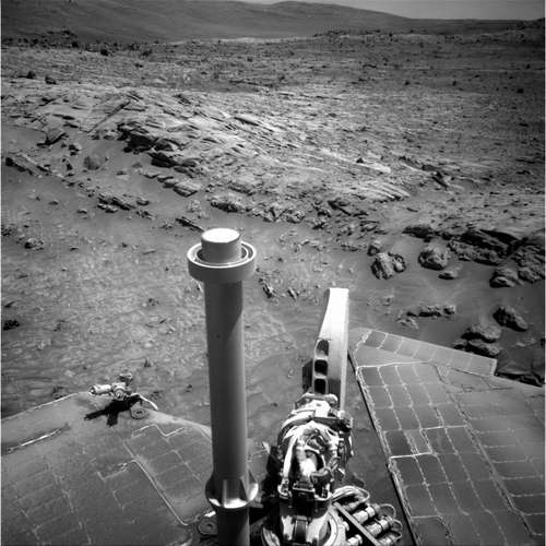 Raw image from Spirit from her Sol 1806.  Credit: NASA/JPL