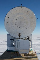 The South Pole Telescope takes advantage of the clear, dry skies at the National  Science Foundations South Pole Station to study the cosmic background  radiation, the afterglow of the big bang. The SPT measures eight meters (26.4  feet) in diameter.  Photo by Jeff McMahon