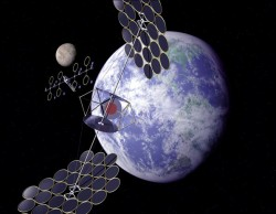 inSatellites in orbit collectg solar power.  Image: National Space Society.