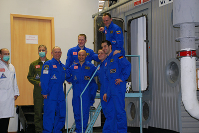 The Mars 500 simulation participants enter their new home. Image Credit: ESA