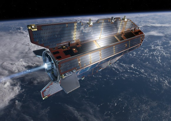 GOCE in orbit.  Credit: ESA