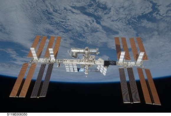 ISS at full length, taken from Discovery.  Credit: NASA