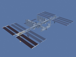 An artist's illustration of the ISS, with the fourth set of solar array wings highlighted. (Source: NASA