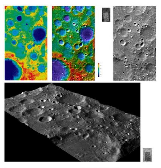 A 3D image of lunar terrain. Credit: China's Chang'e-1 lunar orbiter.