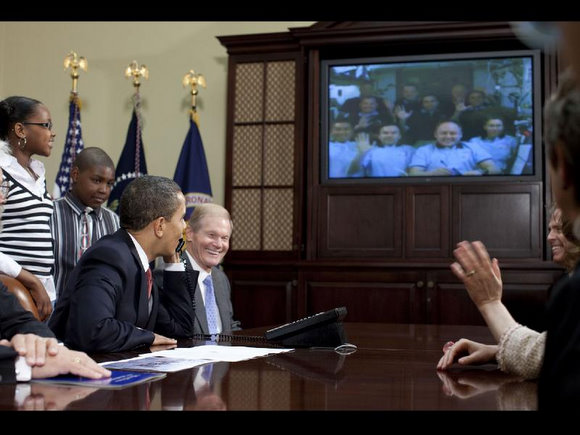 Obama and friends chat with ISS astronauts.  Image Credit: White House/Pete Souza