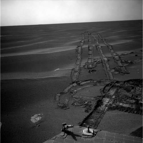 Image from Opportunity's navigation camera on sol 1825. Credit: NASA/JPL