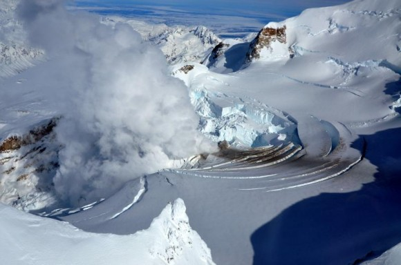 "Redoubt volcano crater showing rapidly melting glacier and enlarged ""ice piston"" feature. Picture Date: March 21, 2009  Image Creator: Cyrus Read,  Image courtesy of AVO/USGS."