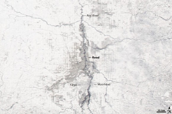 Red River Flooding, taken March 28 by MODIS on NASA's Aqua Satelite.