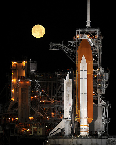 Shuttle Discovery on the launchpad.  Credit:  NASA/Bill Ingalls