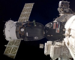 Soyuz TMA attached to the ISS.  Credit: NASA
