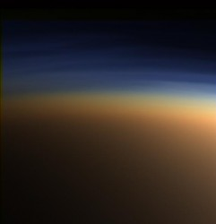 The atmosphere of Titan, similar to the Earth's early atmosphere.