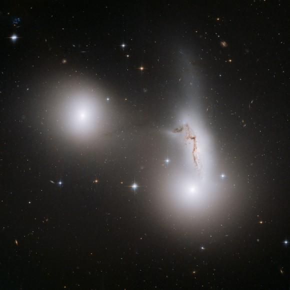 Trio of galaxies.  Image credit: NASA, ESA and R. Sharples (University of Durham, U.K.)