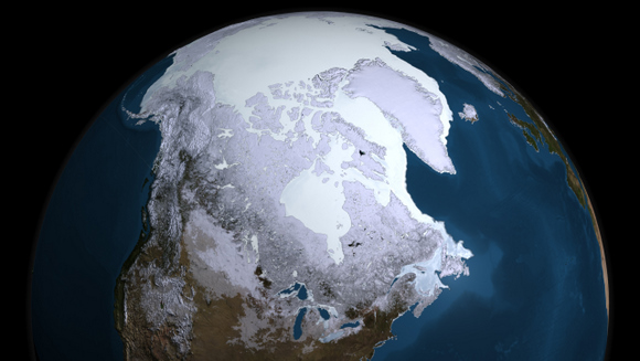 This data visualization from the AMSR-E instrument on the Aqua satellite show the maximum sea ice extent for 2008-09, which occurred on Feb. 28, 2009. Credit: NASA Goddard's Scientific Visualization Studio