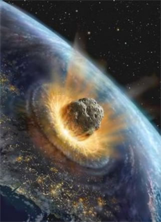 Artists concept of an asteroid hitting Earth.