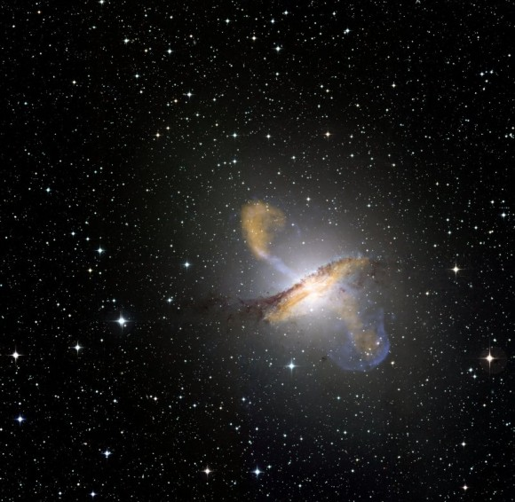 Centaurus A. Credit: ESO/WFI (Optical); MPIfR/ESO/APEX/A.Weiss et al. (Submillimetre); NASA/CXC/CfA/R.Kraft et al. (X-ray) 