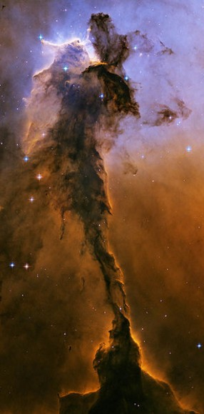 "A view of the ""spire"" within M16, the Eagle Nebula.  Credit: NASA/ESA"