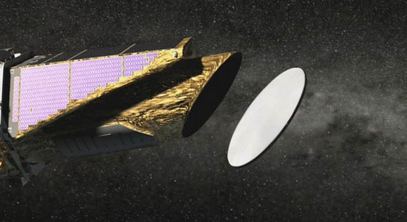 Artist concept of the Kepler spacecraft's dust cover coming off. Image credit: NASA/JPL