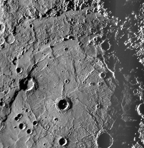 The Rembrandt impact crater basin on Mercury.  Credit: Credit: NASA/Johns Hopkins University Applied Physics Laboratory/Smithsonian Institution/Carnegie Institution of Washington