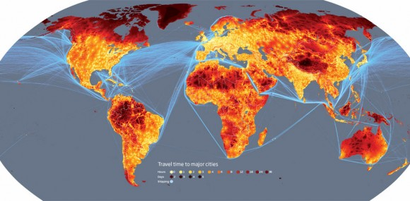 A heat map of travel-times to nearest city