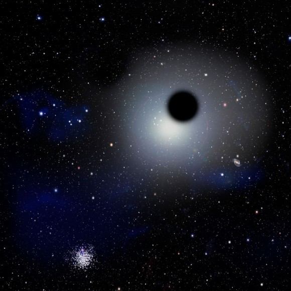 Artists concept of a rogue black hole floating near a globular cluster star near the outskirts of the Milky Way. Credit: David A. Aguilar, CfA