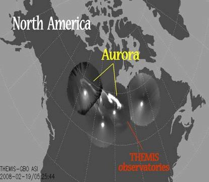 Electric currents in the funnels power auroras.  Credit: Keiling, Glassmeier, and Amm