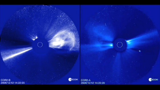 Visualization of a coronal mass ejection event on December 12-13, 2008 as seen simultaneously by the two STEREO spacecraft. The images on the right were taken by STEREO-A, while the images on the left were taken by STEREO-B. The images were taken by the COR2 telescopes on STEREOs SECCHI instrument suite. Credit: NASA