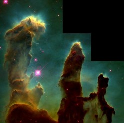 "The famous ""Pillars of Creation"" in the Eagle Nebula. Credit: NASA/STScI"