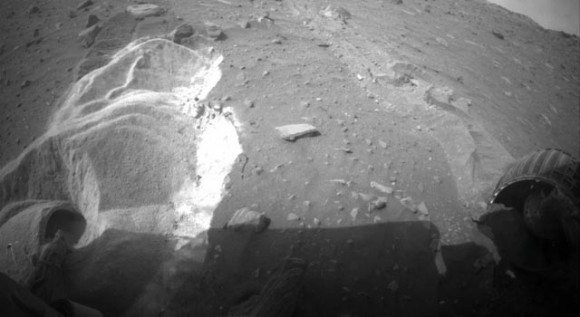 Spirit's wheels embedded in the Martian regolith. Credit: NASA/JPL