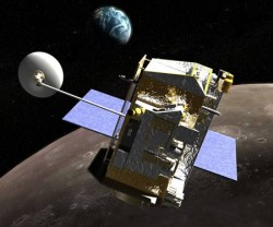 Artist concept of LRO in lunar orbit. Credit: NASA