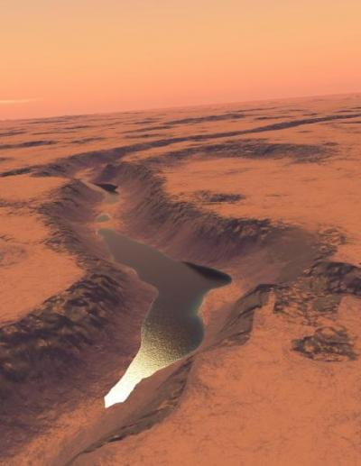 This is reconstructed landscape showing the Shalbatana lake on Mars as it may have looked roughly 3.4 billion years ago. Data used in reconstruction are from NASA and the European Space Agency.  Credit: Image credit: G. Di Achille, University of Colorado