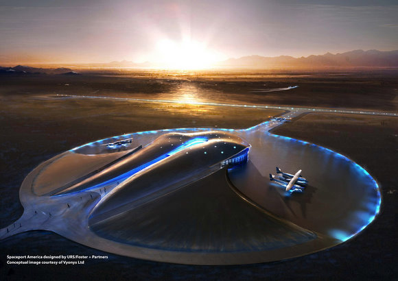 Spaceport America designed by URS/Foster + partners. Conceptual image courtesy Vyonyx Ltd.