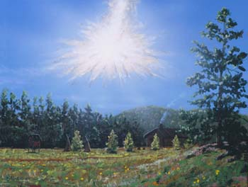 Artist impression of the Tunguska event.
