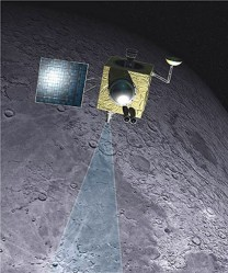 Artist concept of Chandrayaan-1 orbiting the moon. Credit: ISRO 