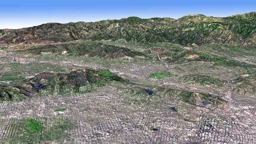 In this perspective view, the new topographic maps show the LA Basin. Credit: NASA, MET
