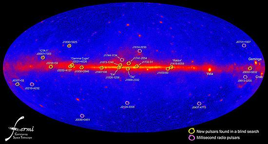 This all-sky map shows the positions of 16 new pulsars (yellow) and eight millisecond pulsars (magenta) studied using Fermi's LAT. Credit: NASA/DOE/Fermi LAT Collaboration
