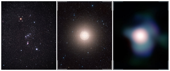 This collage shows the Orion constellation in the sky (Betelgeuse is identified by the marker), a zoom towards Betelgeuse, and the sharpest ever image of this supergiant star, which was obtained with NACO on ESO's Very Large Telescope. Credit: ESO, P.Kervella, Digitized Sky Survey 2 and A. Fujii