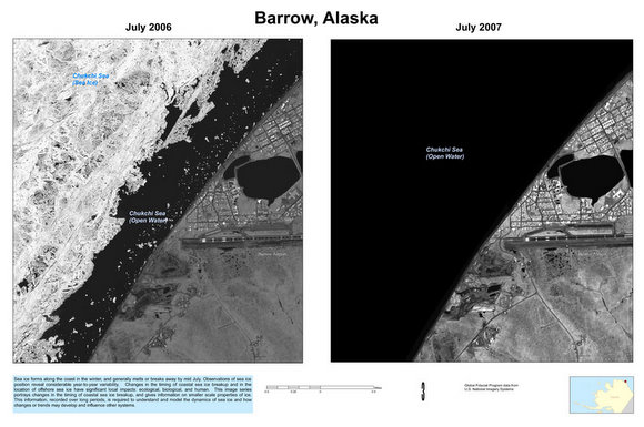 Ice loss in Barrow Alaska from 2006 to 2007. Credit: US Geological Survey