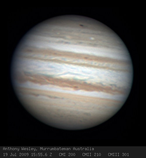 Anthony Wesley from Canberra, Australia looks to have captured a new impact spot on Jupiter. Credit: Anthony Wesle