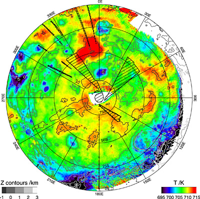 The first temperature map of the planet's southern hemisphere at infrared wavelengths, charted with Venus Express's Visible and Infrared Thermal Imaging Spectrometer, VIRTIS. Credits: ESA/VIRTIS/INAF-IASF/Obs. de Paris-LESIA