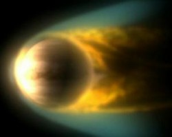 Interaction between Venus and the solar wind. (Credit: ESA / C. Carreau)