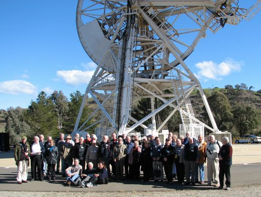 Some of the Honeysuckle team underneath the old antenna, DSS-46, at Tidbinbilla on Monday 20th July 2009. Credit: Honeysucklecreek.net