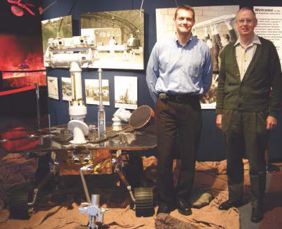 Chris Potts and Neil Mottinger with a model of the Mars Exploration Rover at JPL. Photo courtesy of Chris Potts