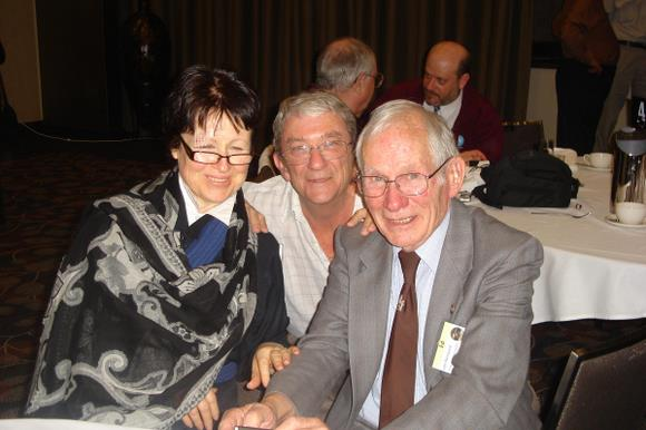 Louise from the HSK reunion organizing committee, Bruce Ekert, and Ed von Renouard at the Apollo 11 celebrations in Australia. Photo Courtesy Bruce Ekert.