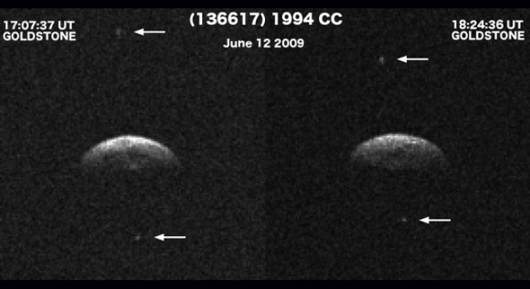 Radar imaging at NASA's Goldstone Solar System Radar on June 12 and 14, 2009, revealed that near-Earth asteroid 1994 CC is a triple system. Image Credit: NASA/JPL/GSSR