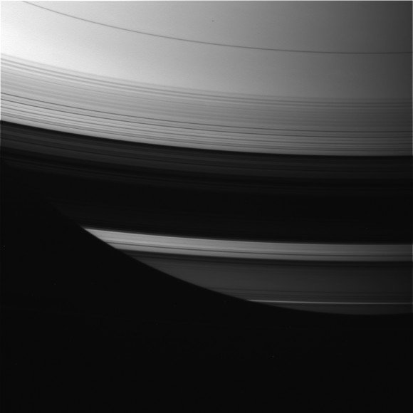 Saturn&#039;s rings at equinox. Credit: NASA
