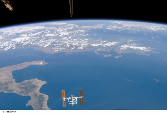 Space station above the Earth. Image credit: NASA