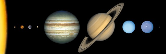 Eight planets and a dwarf planet in our Solar System, approximately to scale. Pluto is a dwarf planet at far right. At far left is the Sun. The planets are, from left, Mercury, Venus, Earth, Mars, Jupiter, Saturn, Uranus and Neptune. Credit: Lunar and Planetary Institute